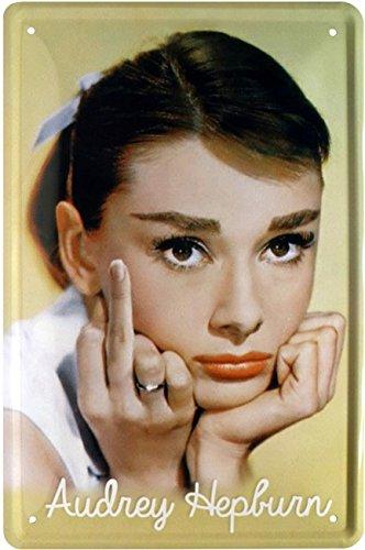 Frech! Audrey Hepburn Finger Stinkefinger Blechschild 20 x 30 Retro Blech 1722