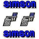 SET: Aufkleber Klebefolie - Blau - für SIMSON S51 B - 2x Seitendeckel & 2x Tank