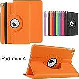 ipad mini 4 Tablet Funda Case Cover,Blanco Funda de Piel de Cuero Carcasa Funda para Tablet ipad mini 4 7.9'' Pulgadas Smart Case Cover con Multi-Vista de ángulo y rotación de 360 grados(Naranja)