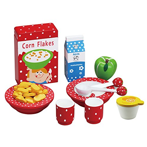 MaMaMeMo Wooden Food Toy: Fabulous Breakfast Set With 11 Pieces. Ideal Wooden Gift For Children / Gift For Girls / Role Play Kitchen toy