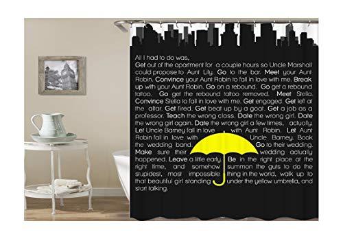 AieniD Cortina De Ducha Impermeable Antimoho Paraguas Inglés Palabras Negro Cortina De Ducha Estanca Size:150X200CM