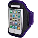 Purple iPhone 4 4S Sports Strong ArmBand Padded Cover With Earphone Pocket For SPORTS GYM BIKE CYCLE JOGGING, Tie Phone With Your Arm - by KING OF FLASH