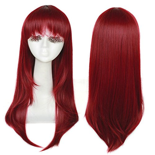 S-noilite 2460CM Wig Long Straight Hair Women Cosplay Party Costume Anime Full Wig Wine Red by ()