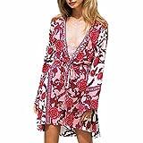 Ai.Moichien Damen Strandkeid Sommer Kimono Cardigan Chiffon Sommer Kleid Boho Ethnisches Floral Print Mini Kleid Bikini Cover up