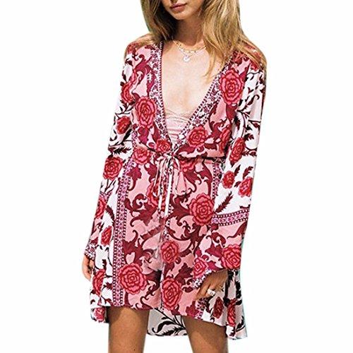 Ai.Moichien Damen Strandkeid Sommer Kimono Cardigan Chiffon Sommer Kleid Boho ethnisches Floral Print Mini Kleid Bikini Cover Up - Ethnische Print Kleid