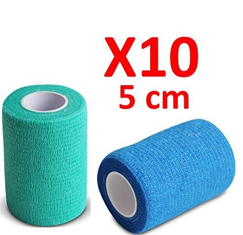 Venda Cohesiva 5xAzul y 5xVerde 10 rollos x 5 cm x 4,5 m autoadhesivo flexible vendaje, calidad profesional, primeros auxilios, lesiones de los deportes, rodillos embalados individualmente- Pack de 10