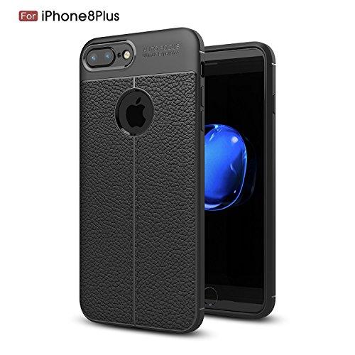 iPhone 7Plus Fall, iPhone 8Plus Schutzhülle, Robust und Flexibel TPU Leder Autofokus Skin Back Cover Premium Schutzhülle für Apple iPhone 7/8Schwarz (Schwarz) (Cute Android-handy-fällen)