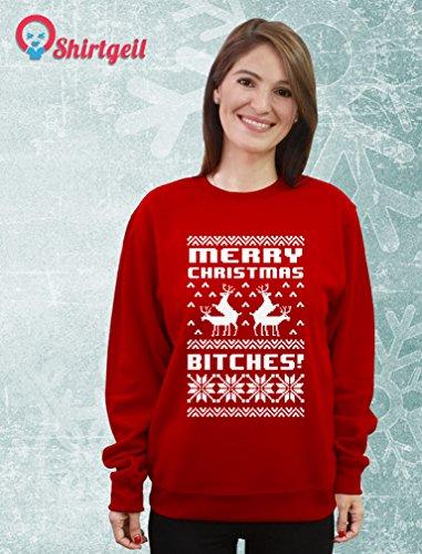 Merry Christmas Bitches Damen Sweatshirt Weihnachtspullover - Lustiger Weihnachtspulli Grün