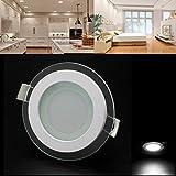 LED Panel, 6W Kaltweiß(6000K) 480lm, ersetzt 50W Glühbirne, Ø100mmx41mm, Lochgröße:75cm, Glas Leuchte Deckenlampe Deckenleuchte Einbaustrahler