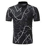 2019 Herren T-Shirt Frühling Sommer feiXIANG Kurzarm T-Shirt Casual Slim Fit Buttons Stehkragen Sportbekleidung (Schwarz,XL)