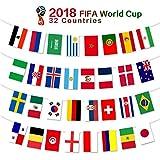 G2PLUS 2018 FIFA WM Fahnen mit 32 L?nderfahnen, 20CM*30CM Fahnenkette Flaggen, Perfekte Dekorationen f¨¹r Bar, Party, Festival, Sportvereine