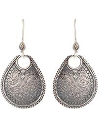 Handicraft Oxidized 92.5 Sterling Silver Fashionable Tribal Chandbali Earrings for Girls (AA925015)