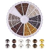 PandaHall 3000 Stück Messing Metall Spacer Perlen 6 Farben 2mm für DIY Quetschperlen Armbänder und Halskettenherstellung