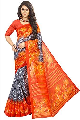 Art Decor Sarees Women's Orange Color Bhagalpuri Silk Printed Saree With Blouse