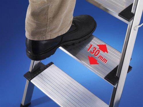 Alu-Sicherheits-Haushaltsleiter – 5 XXL-Stufen mit Multifunktionsschale - 3