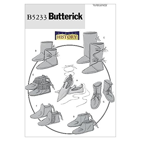 Butterick Patterns B5233 All Sizes Historical Footwear , Pack of 1, White