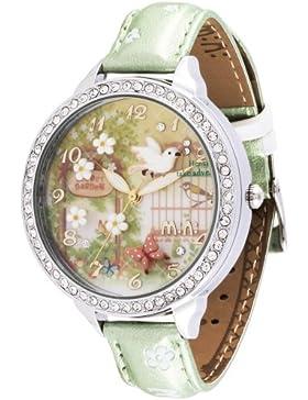 Oh My Lady Armbanduhr, innovative 3D-Miniaturblumen, Schmetterlinge, Vögel, wasserdicht, mit echtem Lederband,...