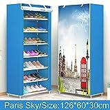 Bureze Schuhschrank mit 8 Etagen aus Edelstahl, kann bewegt Werden, abnehmbares Vlies-Schuhregal, für Wohnzimmer, platzsparend, Schuh-Organizer Paris Sky