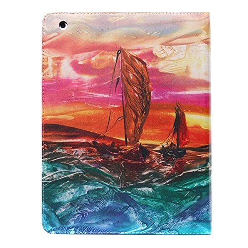 Ipad 2 3 4 Wallet Cover, Ipad 2 3 4 Flip Leather Case Back Cover, Ukayfe Stand Function PU Leather Case Premium Soft Slim Cover Bookstyle with Magnet Closure Credit Card Holder Slots for Apple iPad 2  Painting-sailing boat