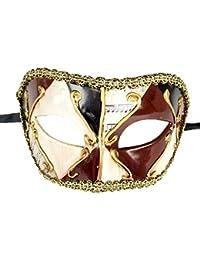 Coolwife Máscara de la Mascarada de los Hombres Fiesta de la Vendimia a Cuadros marcial Musical
