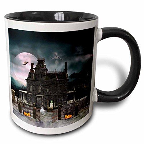 3drose ein Halloween Haunted House in the Night mit Geistern und Kreaturen, zweifarbig schwarz Tasse, 11Oz, schwarz/weiß