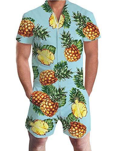 ALISISTER Jumpsuit Kurz Herren 3D Lustig Ananas Overall Herren Sommer Zipper Grandad Shirts Onesie Strampler Jumpsuits Kostüm Anzug M