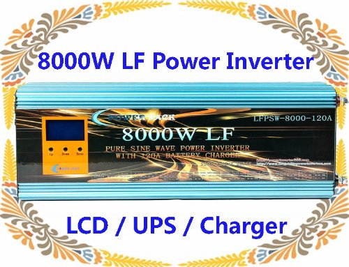 32000 Watt Peak 8000 Watt Low Frequency Pure Sine Wave Power Inverter 12 V DC/AC 220 V-240 V 50 Hz with 120 A battery charger LCD/UPS/Ladegerät ~ UK Lager ~ keine Tax to EU CUSTOMERS., [UK Import] (Heater Motor Ac)