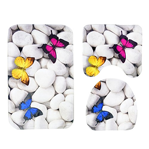 OUNONA Badematten Set/Flanell Matte Badezimmer /rutschfeste Teppiche WC Deckel Abdeckung (Schmetterling und Stein) (Badezimmer-teppiche-wc)