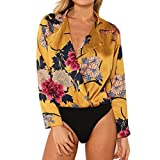 Sunnywill Blusen Tuniken Pullover Streetwear Bluse,Damen Mode Bedrucktes Hemd Siam Pants Print Smoking Wrap Over Satin Body Overall (Yellow, XL)