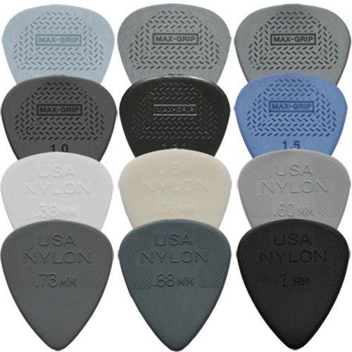 Dunlop - Max Grip - 12 plettri da chitarra, standard e in nylon, confezione assortita con un pezzo per ogni tipo, forniti in una pratica scatola di latta