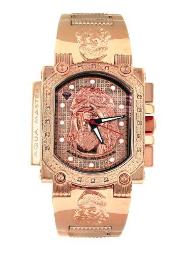 Aqua Master hombres del dial de Jesús especial rose-pvd acero inoxidable juego de reloj, con 16diamantes w # 323j