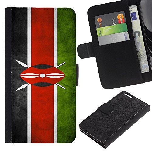 """Graphic4You Vintage Uralt Flagge Von Südafrika South Africa Design Brieftasche Leder Hülle Case Schutzhülle für Apple iPhone 6 Plus / 6S Plus (5.5"""") Kenia"""