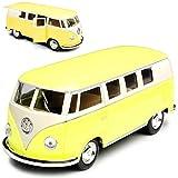Kinsmart Volkwagen T1 Gelb Creme Weiss Samba Bully Bus 1950-1967 1/32 Modell Auto mit individiuellem Wunschkennzeichen