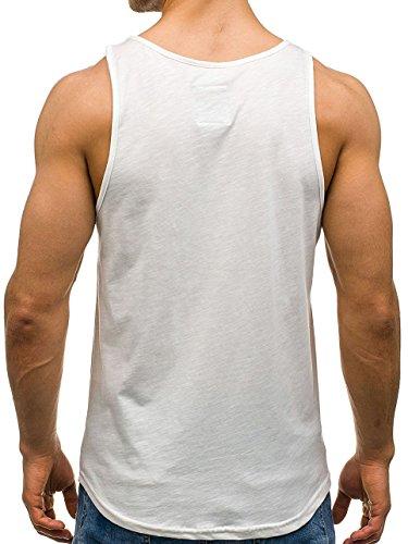 BOLF Herren Tanktop T-Shirt Tee Ärmellos Motiv Sport Army Kurzarm Mix 3C3 Camo Ecru_724