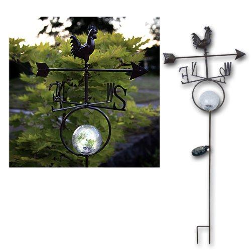 Best Season 477 90 LED à énergie solaire Girouette Hauteur 125 cm 1 LED Blanc Chaud avec panneau solaire avec batterie/4 couleurs Boîte, noir