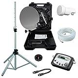 Camping SAT Koffer 40cm Spiegel + single LNB + 10m Kabel + Digital SAT-Finder + Dreibein-Stativ