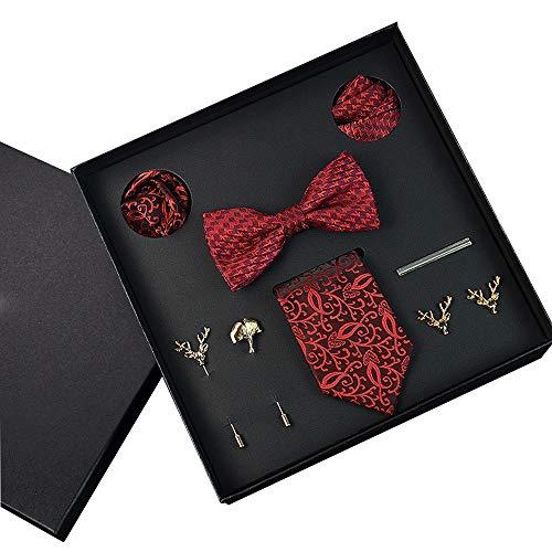 Fliege Herren Krawatte Brosche Bräutigam Krawatte Anzug Muster Rot Fliege Herren Handtuch Geschenkbox 1200 Pin Dichte (Farbe : Rot, größe : 145 * 7cm) -
