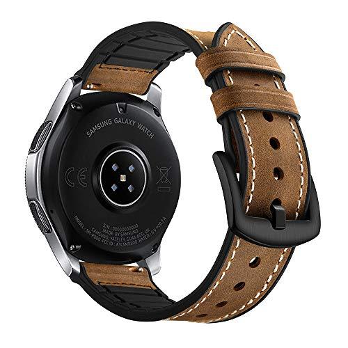 Myada Kompatibel Armband für Samsung Galaxy Watch 46mm Armband Gear S3 Frontier Leder,Smartwatch Armband Samsung Gear S3 Lederarmband S3 Classic Armbänder Galaxy Watch Echte Leder+Silikon Sportarmband