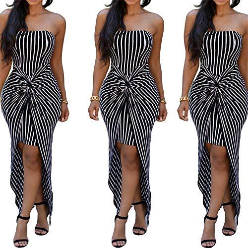 Staubigen Kostüm - YuJian12 Sommer Frau Kleid gestreift trägerlos aus Schulter Frauen Kleider Abend Party Kleider Dinner Kleider für Frauen Kostüm-in Kleider von Frauen Wie das Foto zeigt