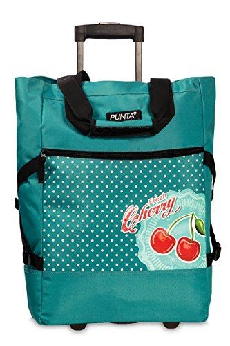 Trolley mit Rollen & Doppelgestänge Teleskopgriff Einkaufstrolley Punta-Wheel-Shopping-Roller Shopper Tasche - Cherry türkis