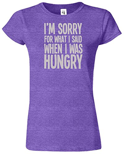 I'M SORRY FOR WHAT I SAID Mesdames T-shirt Tshirt drôle Top Heather Pourpre / Gris Design