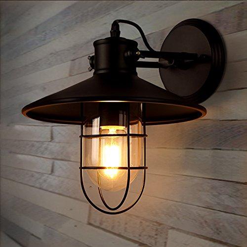 GUORZOM Schwarze Weinlese-Edison-Einfache Wandlampe, Industrielle Art-Nachttisch-Hotel-Lager-Licht-Wand-Lampe (Nachttisch Lager)