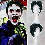 Party Queen film Batman Joker Vert foncé Cosplay synthétiques Perruques Halloween Anthony Misiano Jeu de rôle Vert court Bob Cheveux Fancy Costume