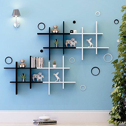 Fastdirect mensole cd libreria da parete scaffale mensola sospeso da letto supporto da parete decorazione forma # in legno bianco nero (nero)