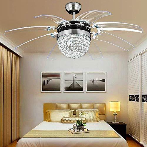 MEIEI Kristall Deckenventilator Fernbedienung Moderne Fly Invisible 8 Blatt Fan Licht Dekorative Wohnzimmer Restaurant Kronleuchter 42 Zoll Silber (210 V-240 V) - Rost-finish Deckenventilator