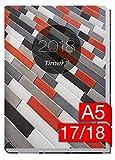 Chäff-Timer Classic A5 Kalender 2017/2018 [Muster grau-rot] 18 Monate Juli 2017-Dezember 2018 - Terminkalender mit Wochenplaner - Organizer - Wochenkalender