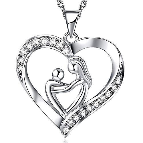 TOJEAN 'mom Ich Liebe Dich' Schmuck Halskette Damen, Halskette Damen Herz 925 Silber, Geschenke für Mama