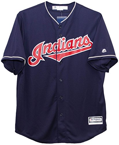 Majestic Cleveland Indians Cool Base MLB Trikot Alternate Navy (XXL)