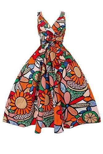 intage witzig Pop Art Swing Retro Party Kleid in Übergröße - Orange, 48 (Pop-art-kleid)