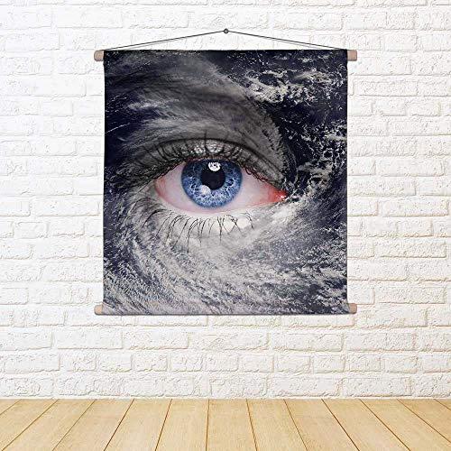 ArtzFolio Blue Eye In The Middle of A Tropical Hurricane D2 Canvas Painting Tapestry Scroll Art Hanging 24 X 24Inch